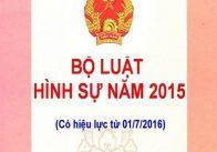 Bộ luật hình sự 2015 ban hành ngày 27/11/2015