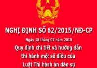 Nghị định 62/2015/NĐ-CP hướng dẫn thi hành án dân sự